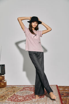 Cortefiel Long-sleeved T-shirt with motif Pink