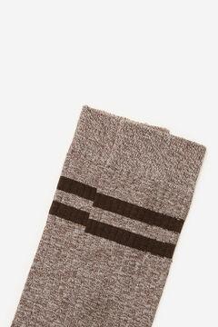 Cortefiel Plain ribbed sports socks Camel