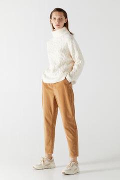 Cortefiel Pullover with diagonal braids Ecru