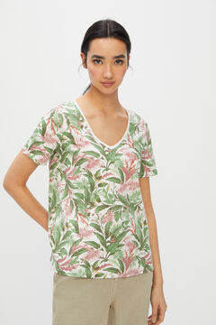 Cortefiel Cotton V-neck T-shirt Natural