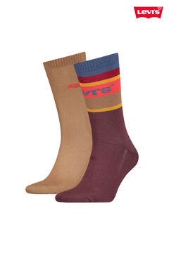 Cortefiel Colour block stripes calf-length Levi's® socks pack  Plum