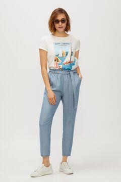 Cortefiel Flowing denim trousers 100% Lyocell Royal blue