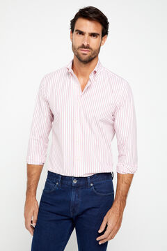 Cortefiel Pinpoint striped shirt Fuchsia