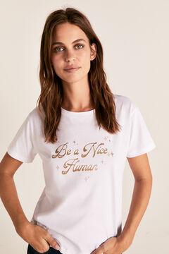 Cortefiel Camiseta cuello redondo brillantina Blanco
