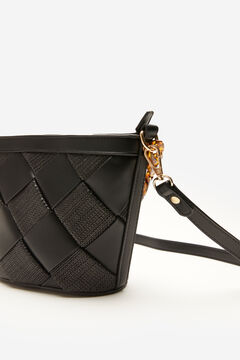 Cortefiel Woven strap crossbody bag Black