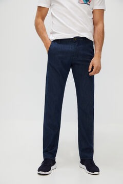 Cortefiel Regular fit dark denim chinos Royal blue