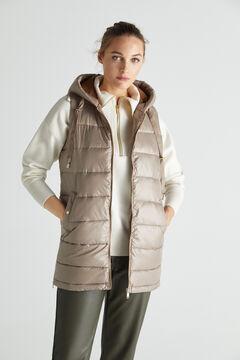 Cortefiel Long hooded vest Beige