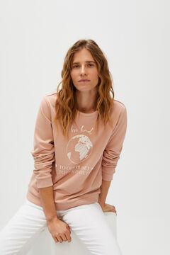 Cortefiel Sweatshirt estampada Rosa