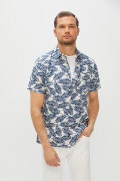 Cortefiel Camisa estampada manga corta Marfil