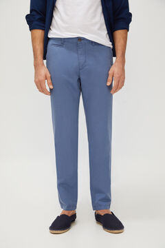 Cortefiel Slim fit linen trousers Turquoise