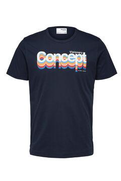 Cortefiel Camiseta manga corta estampada Azul
