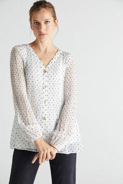 Cortefiel Camisa plisada confort Marfil