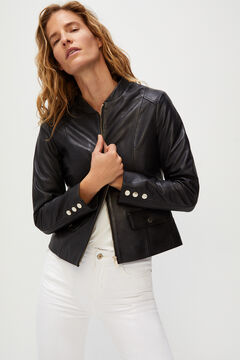 Cortefiel Leather jacket central zip Black