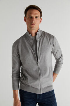 Cortefiel Cotton/cashmere zip-up cardigan Gray