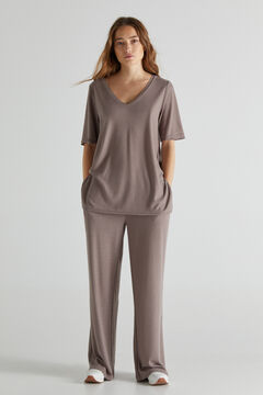 Cortefiel Jersey-knit top with cuff detail Brown