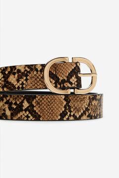 Cortefiel Cinturón básico animal Beige