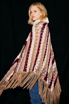 Cortefiel Fringed crochet shawl Ecru