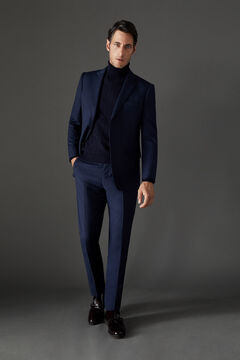 Cortefiel Micro check tailored fit trousers Navy