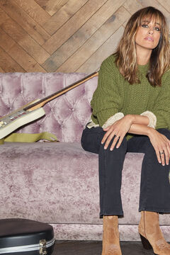 Cortefiel Sustainable cropped jumper Green