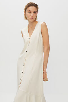 Cortefiel Long fluid dress White