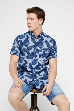Cortefiel Short-sleeved shirt Blue