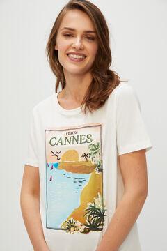 Cortefiel Postcard print t-shirt Natural