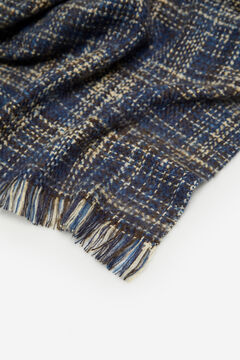 Cortefiel Navy blue tweed style scarf Navy