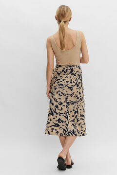 Cortefiel Printed skirt Tobaco