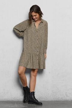 Cortefiel Sustainable fabric shirt dress Kaki