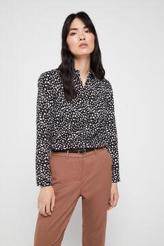 Cortefiel Polka-dot print shirt Black