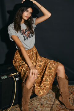 Cortefiel Long printed layered skirt Yellow