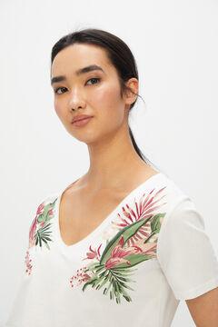 Cortefiel Cotton V-neck T-shirt White