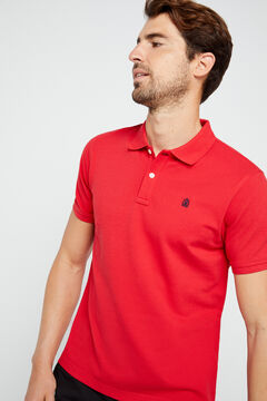 Cortefiel Short-sleeved logo polo shirt Red garnet