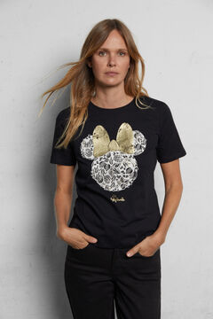 Cortefiel Organic cotton Minnie Mouse T-shirt Black