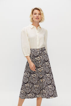 Cortefiel Super comfortable fabric midi skirt Ecru