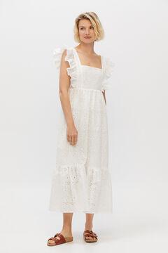 Cortefiel Embroidered strappy dress White