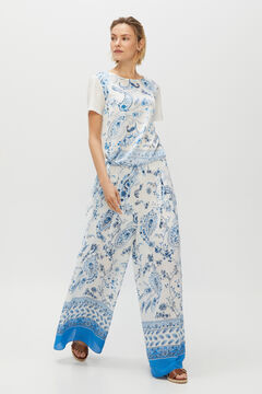 Cortefiel Printed wide leg trousers Ecru