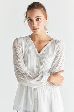 Cortefiel Camisa plisada confort Blanco
