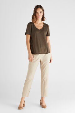 Cortefiel Linen effect V-neck t-shirt Dark gray