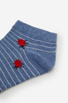 Cortefiel Striped ankle socks with ladybirds Royal blue