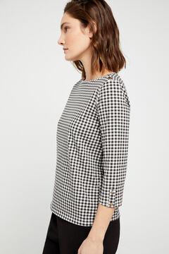Cortefiel Essential organic cotton boat neck t-shirt Ecru