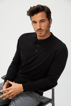 Cortefiel Men's polo shirt jumper Black
