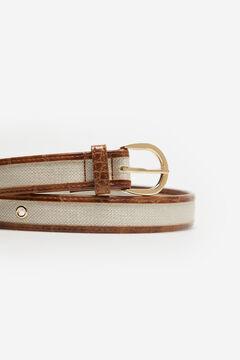 Cortefiel Crocodile skin effect belt Vanilla