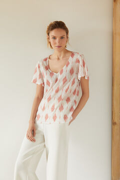 Cortefiel T-shirt with cape sleeves Pink