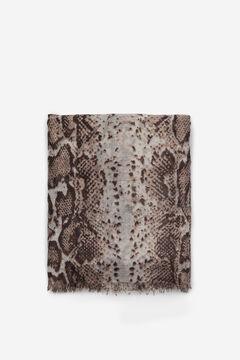 Cortefiel Snakeskin print fine scarf Stone