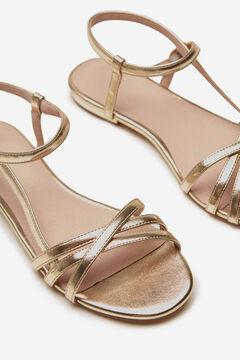 Cortefiel Flat asymmetric strap sandal Beige