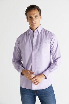 Cortefiel Checked organic cotton Oxford shirt Plum