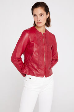 Cortefiel Leather woven details jacket Red garnet