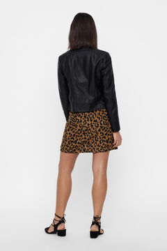 Cortefiel Faux leather short jacket Black