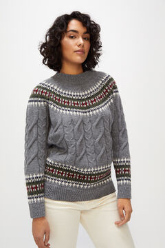 Cortefiel Cross-knit and borders jumper Gray